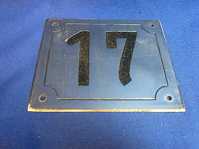 Mid Century Chrome with Black Numbers House Sign No. 17 #L
