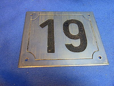 Mid Century Chrome with Black Numbers House Sign No. 19 #L