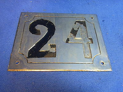 Mid Century Chrome with Black Numbers House Sign No. 24 #L
