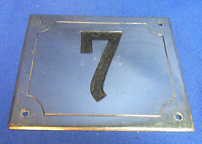 Mid Century Chrome with Black Numbers House Sign No. 7 #L