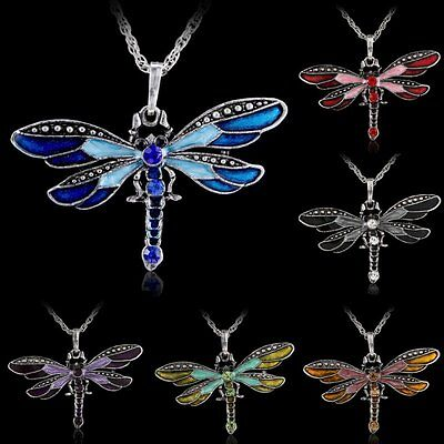 Vintage Dragonfly Crystal Necklace Pendant Women Fashion Jewelry Sweater Chain