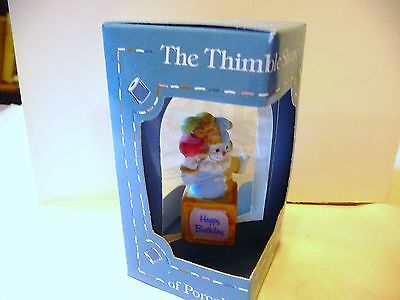 THIMBLE BISQUE ENESCO '86 COLORFUL HAPPY BIRTHDAY CLOWN TOPPER ON A BLOCK IOB