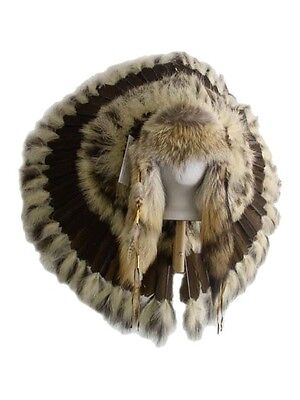 Native American Traditional Coyote War Bonnet Feather Headdress