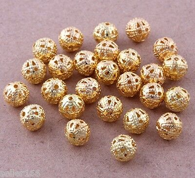 200 Pcs 6mm Gold Plated Spacer Loose Beads~Findings Bracelets necklace charms