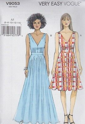 Vogue Sewing Pattern Misses' Very Easy Vogue Lined Dress Wasit Band 6 -22 V9053