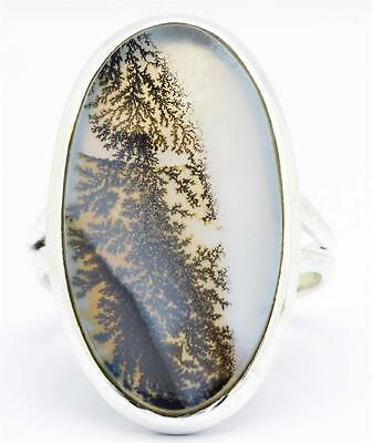 Scenic Agate Gemstone Ring Solid 925 Sterling Silver Jewelry Size 8 IR28148