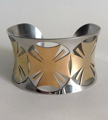 Maltese Cross Cuff Bracelet Polished Stainless Steel Gold / Silver Tones by N