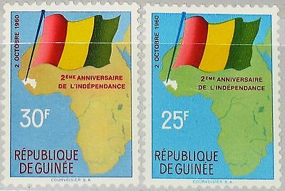 GUINEA 1960 54-55 203-04 2nd Ann Independence Map & Flag Karte Flagge MNH
