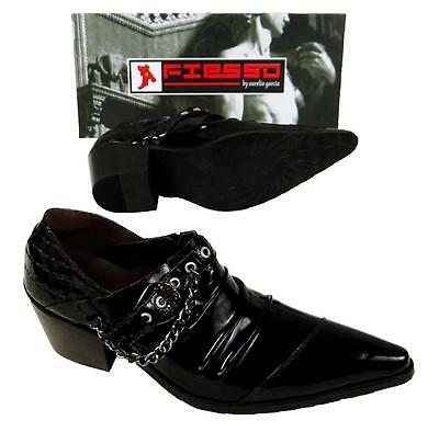 New Fiesso New Pointed Black Patent Leather Shoes with Chains and Buckle FI 6786