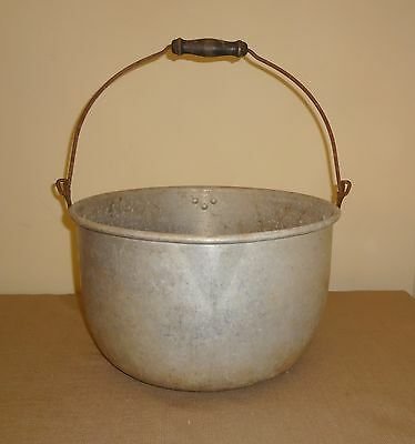 Old Primitive Aluminum Boiling Pot with Bale and Wooden Handle 3-4 Gallon