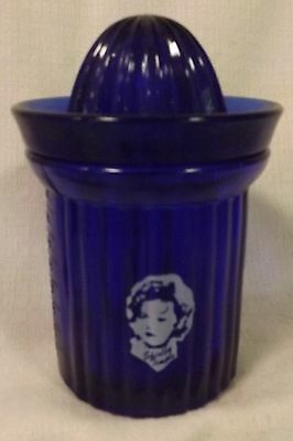 Cobalt Blue Glass Measuring Cup w/ Reamer & Shirley Temple