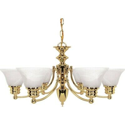 "Nuvo Empire 6 Light 26"" Chandelier w/ Glass Bell Shades - 60-357"