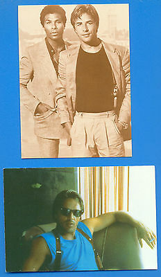 DON JOHNSON.MIAMI VICE.2 POSTCARDS AND 1 FOLDING CARD PUBLISHED 1980s