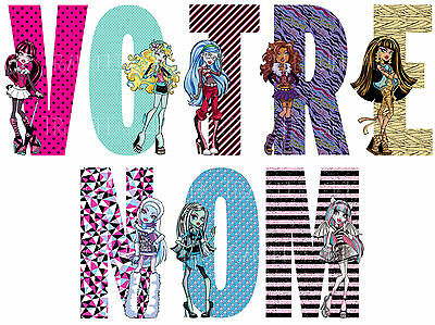 Sticker / Autocollant Monster High Personnalisable Nom 3 Tailles Lot Mh