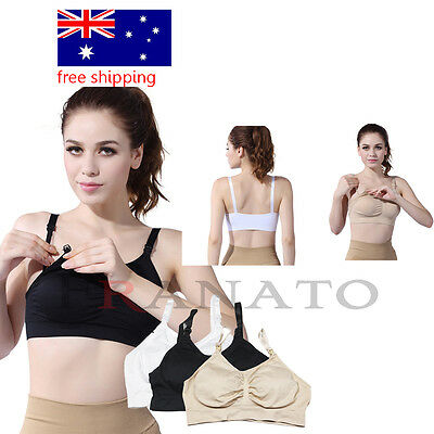 feeding Crop Top BRA REMOVABLE PADS Nursing Bra Seamless Maternity Breastfeeding