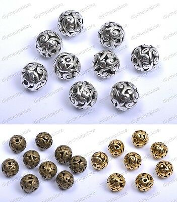 10Pcs Round Heart Metal Carved Hollow Tibetan Silver Spacer Beads Jewellry 12MM