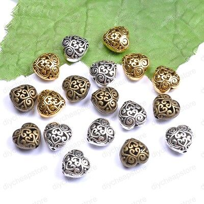 10pcs Tibetan Silver Heart Shaped Hollow Spacer Beads For Jewellry JK0023