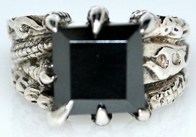Sterling Silver Black Hematite Mens Ring 925, ANTIQUE look, All Sizes N upto Z+5