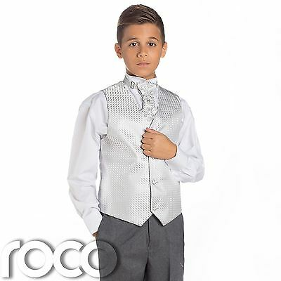 Boys Silver & Grey Suit, Page Boy Suits, Boys Wedding Suit, Boys Waistcoat Suit