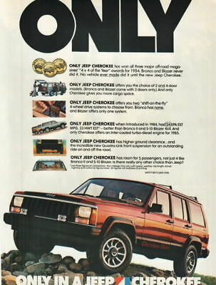 """1984 Jeep Cherokee Chief photo """"Only Jeep"""" print ad"""