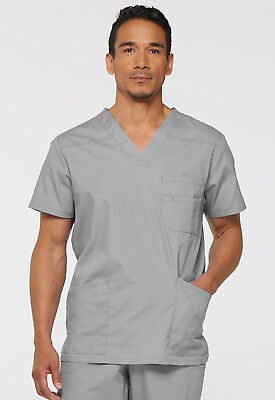 Grey Dickies Scrubs EDS Signature Mens V Neck Top 81906 GRWZ