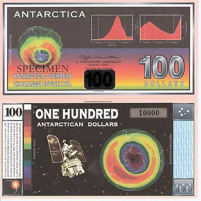 ANTARCTICA $100 Banknote World Money Currency SPECIMEN Ozone Hole Bill Note