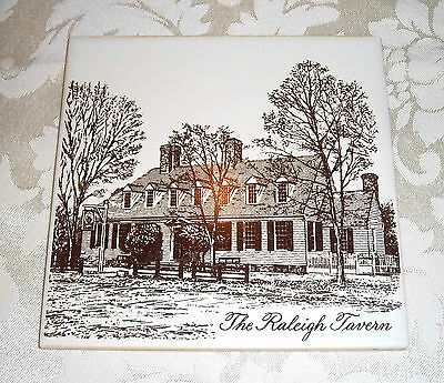 The Raleigh Tavern Ceramic Tile Kitchen Trivet Collectible Plaque
