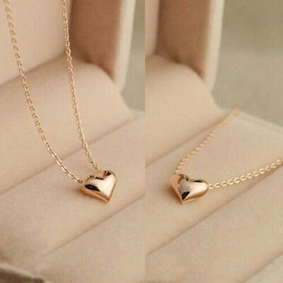 Simple Design Exquisite Gold Color Chain Heart Love Pendant Girl Neckless