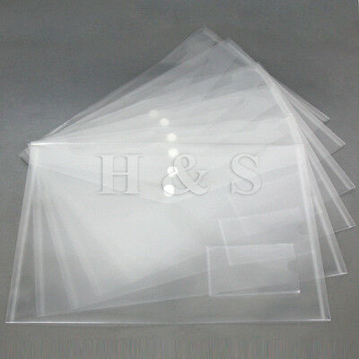 High Quality A4 Plastic Clear Popper Document Wallet File Folder Stud Closing