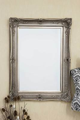 Large Antique Style Silver Ornate Wood Wall Mirror 4Ft x 3Ft Rectangle