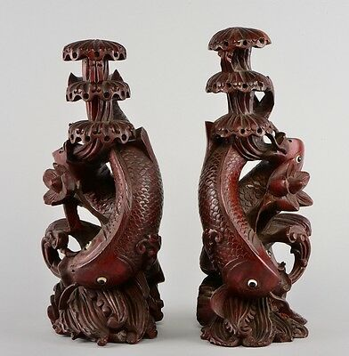 Antique Japanese Meiji Period Pair Of Large Carved Wood Carps Signed!