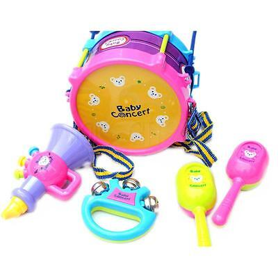 New Cute 5PC Drum Musical Instruments Band Kit Kids Toy Gift Set Boy and Girl