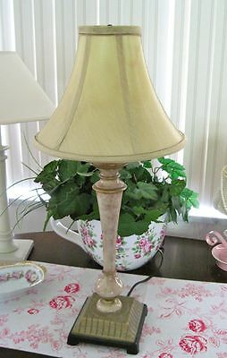 """25"""" Tall ELEGANT Faux BEIGE MARBLE Table Lamp w Gold Trim & GOLD SILK Lampshade"""