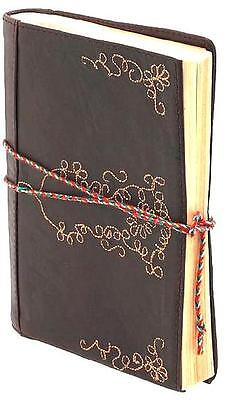 BROWN LEATHER ~ EMBROIDERED JOURNAL ~ POCKET SIZED! WITH TIE