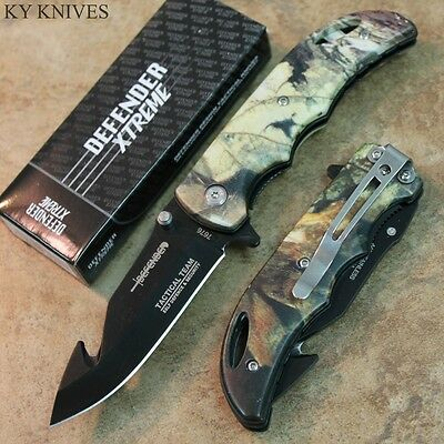 """7"""" Defender Xtreme GUTHOOK Assisted Open Pocket Knife -CAMO NEW 7676 zix"""