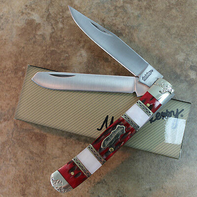 "Schrade Knives Red White Uncle Henry Trapper 4 1/8"" Closed Pocket Knife SP5 zix"