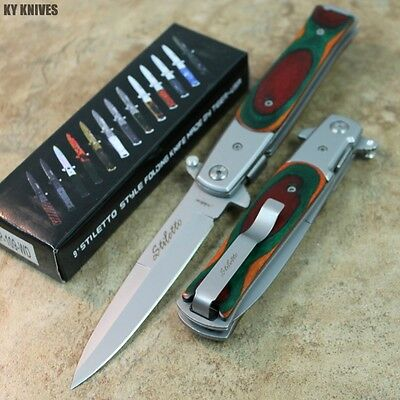 """9"""" Italian Stiletto Tactical Spring Assisted Open Pocket Knife Wood 109-WD zix"""