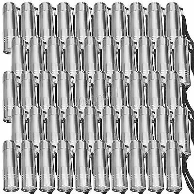 LOT OF 50 Wholesale Superbright Silver 9-LED Flashlight Torch Light Lamp