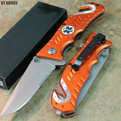 "8"" Orange EMS Spring Assisted Open Tactical Rescue Pocket Knife NEW 3659-OR zix"