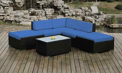 Ohana Outdoor Patio Wicker  Sectional Furniture 6pc - Blue