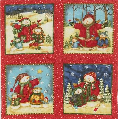 "Christmas Snowmen 4.75"" x 5"" quilt block squares quilting crafting Fabric Panel"