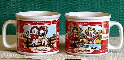 TWO (2) CAMPBELL'S SOUP MUGS--SUMMER DESIGNS-SWIMMING-COURTING-CAMPBELL KIDS