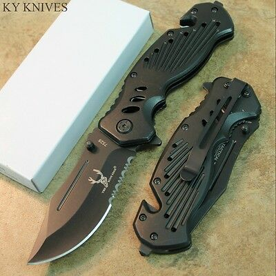 "8.25"" Bone Edge Black Tactical Assisted Open Rescue Pocket Knife 7528 zix"