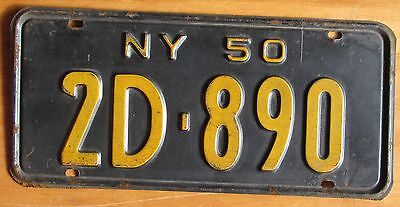 New York 1950 SINGLE PLATE YEAR License Plate # 2D-890