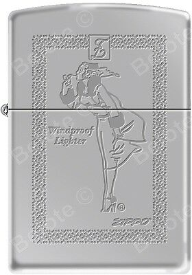 Zippo Engraved Windy Girl With Rope Frame, High Polish Chrome WindProof Lighter