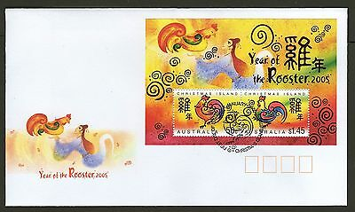 Christmas Island Fdc 2005 Year Of Rooster Ms