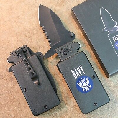 "6"" Lighter Fighters NAVY Assisted Open Pocket Knife Serrated NEW LK1689-NV zix"