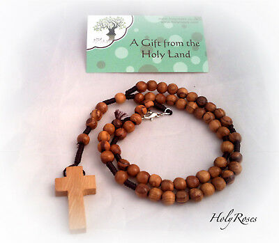 Olive Wood Olivewood Twine Rope Rosary Christian  Cross Necklace FREE SHIPPING