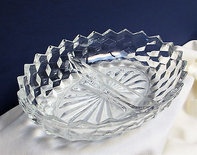 "Fostoria American 10"" Divided Oval Clear Glass Serving Dish Bowl"