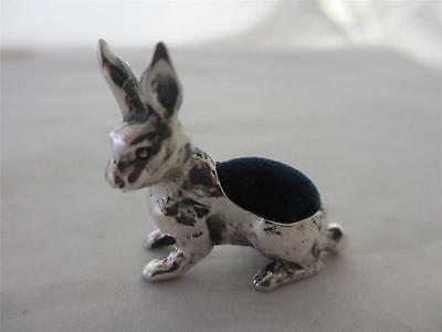 ANTIQUE VICTORIAN STYLE STERLING SILVER BUNNY RABBIT / HARE PIN CUSHION